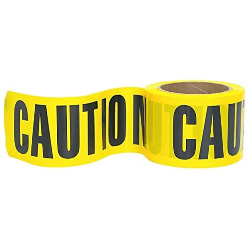 High-Visibility 300-Feet by 3-Inch Caution Barricade Tape, Yellow