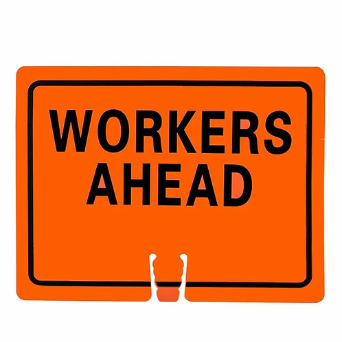 "18""w x 14""h Traffic Cone Sign ""Workers Ahead"" Black on Orange"