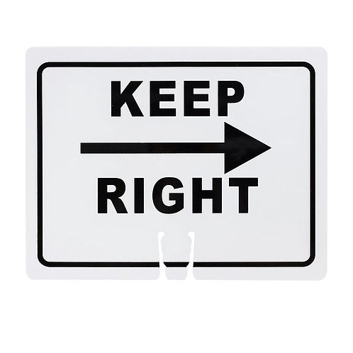 """18""""w x 14""""h Traffic Cone Sign """"Keep Right + Arrow"""" Black on White"""