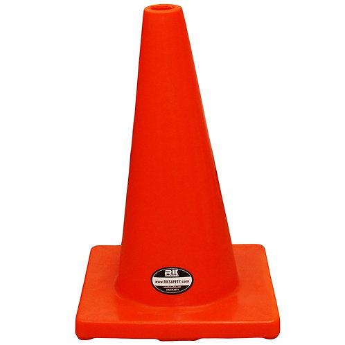"18"" PVC Traffic Safety Cones, Plain - Orange"