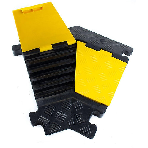 5 Channel Modular Rubber Cable Protector Ramp - Left Turn