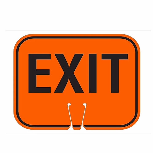 "18""w x 14""h Traffic Cone Sign ""Exit"" Black on Orange"