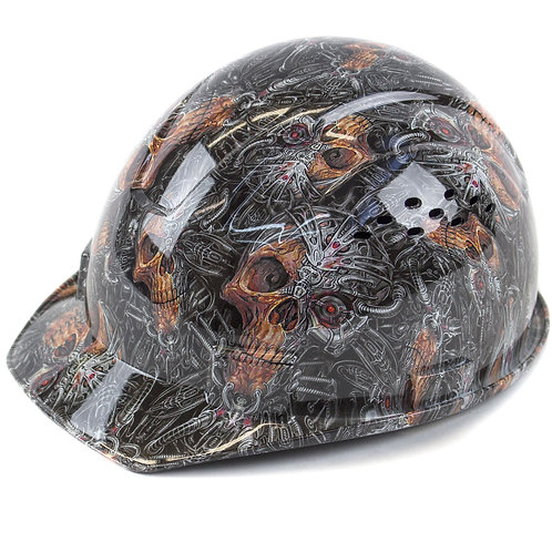 Cap Style Hard Hat with 4 Point Ratchet Suspension (Skull Design)