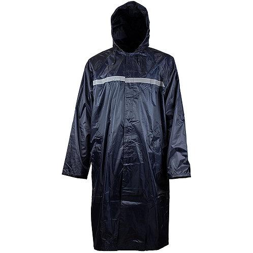 Mens Waterproof Long Raincoat PVC Trecnh Coat - Navy