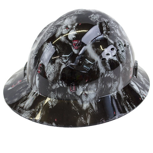 Brim Style Hard Hat with 4 Point Patchet Suspension (Wolves Design)