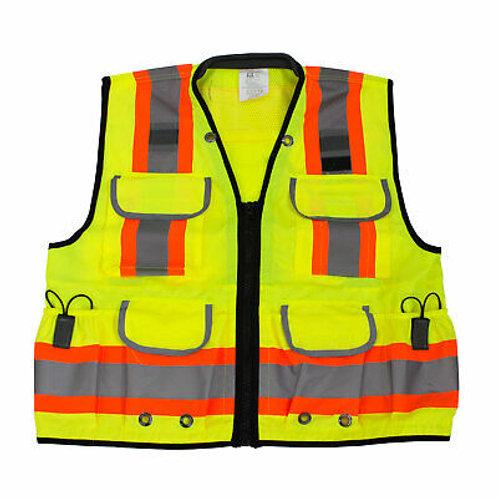 Hi-Viz Ploy Mesh Two Tone Reflective Strips, Pockets, Safety Vest Class