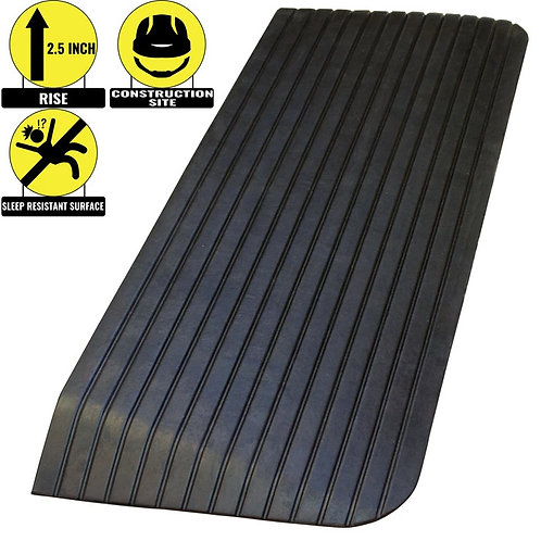 """2.5"""" Rise Solid Rubber Power Wheelchair Scooter Threshold Ramp"""