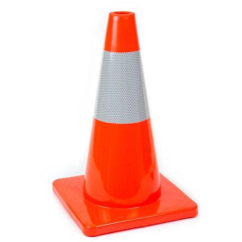 "18"" PVC Traffic Safety Cones, Orange Base with One Reflective Collar - Orange"