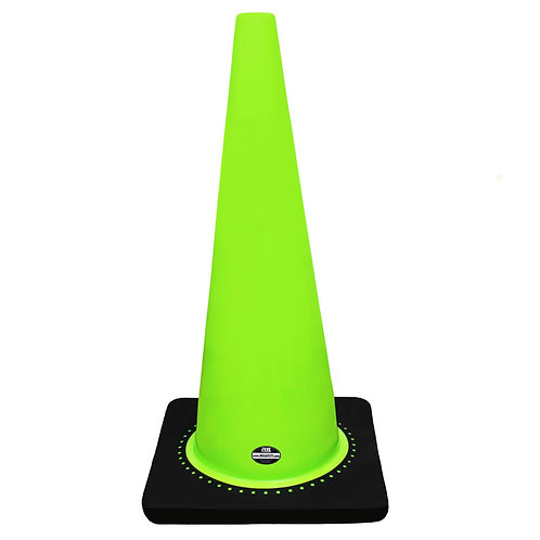 "28"" Safety Traffic PVC Cones, Black Base - Green"