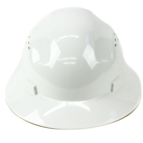 Brim Style Hard Hat with 4 Point Patchet Suspension (White)