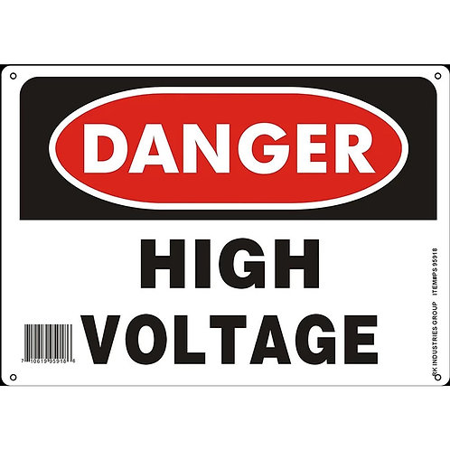 "OSHA Safety Sign, Legend ""Danger High Voltage"""