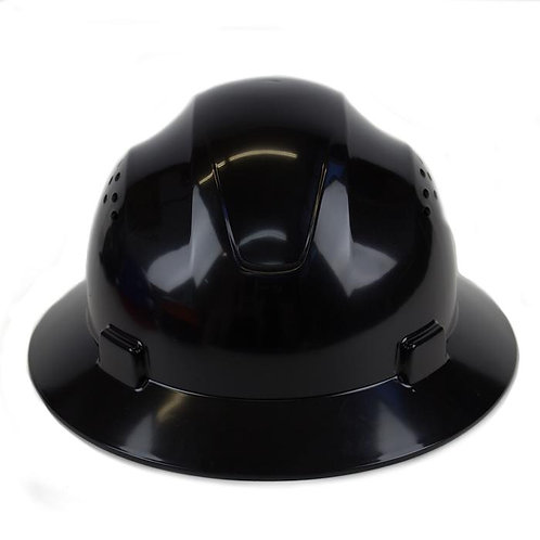 Brim Style Hard Hat with 4 Point Patchet Suspension (Black)