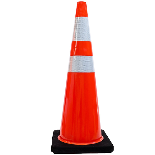 """36"""" Orange Safety PVC Traffic Cone, Black Base with Two Reflective Collars"""