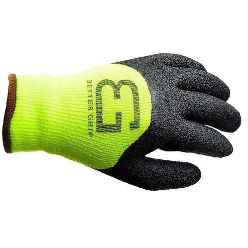 Winter Insulated Double Lining Rubber Latex 3/4 Coated Work Gloves - Lime