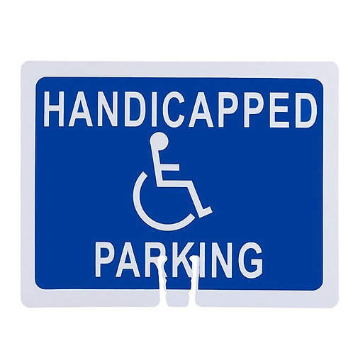 """18""""w x 14""""h Traffic Cone Sign """"Handicapped Parking"""" White on Blue"""