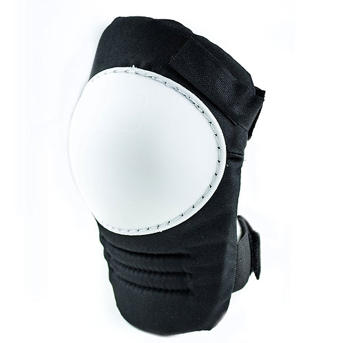 Kneepad with White Hard Shell, Stitched Poly Cap