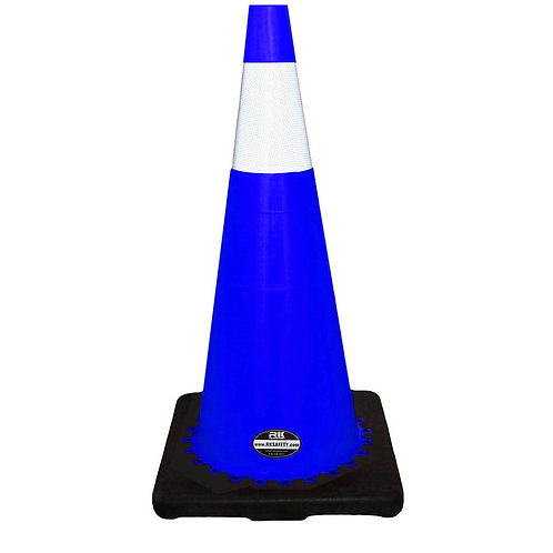 """28"""" Safety Traffic PVC Cones, 6"""" Reflective Collar with Black Base - Blue"""