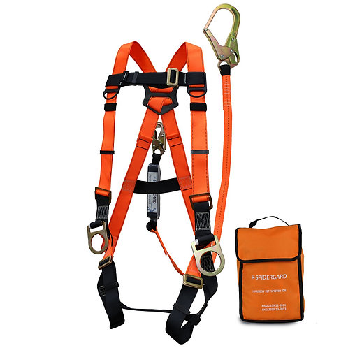 Spidergard Three D-Ring Full Body Safety Harness 6 ft Shock Absorber Rebar Hook