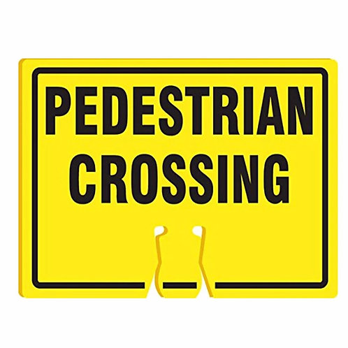"18""w x 14""h Traffic Cone Sign ""Pedestrian Crossing"" Black on Yellow"