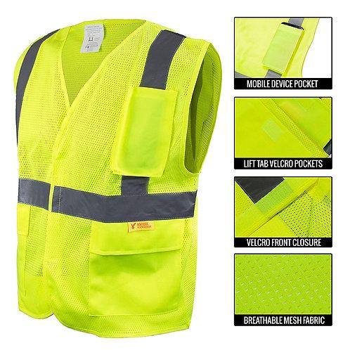 Hi-Viz Safety Vest with Reflective Strips and Pockets - ANSI/ISEA Class 2
