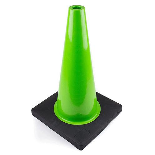 "18"" PVC Traffic Safety Cone, Black Base - Green"