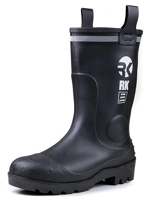 Mens Waterproof Rubber Sole Rain Boots - Black