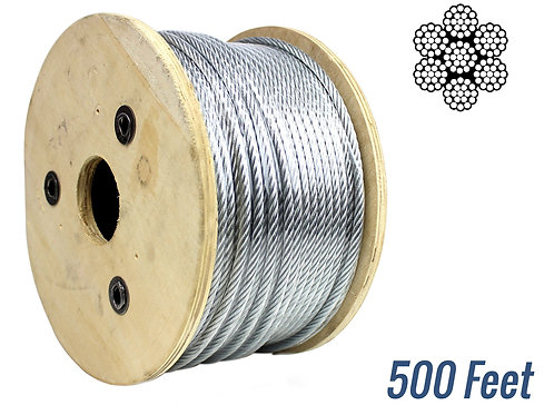 """Wire Rope, 7x19 Galvinized Aircraft Steel Cable,1/4"""" ,500 ft"""