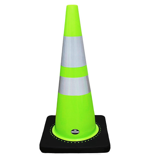 "28"" Safety Traffic PVC Cones, 6"" + 4"" Reflective Collars with Black Base - Green"