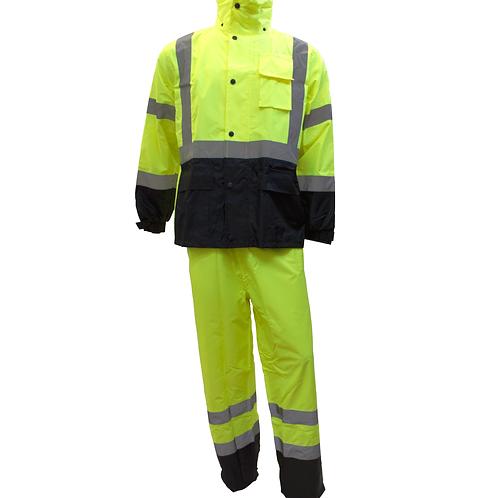 Class 3 Rain Suit High Visbility Refllective Black Bottom