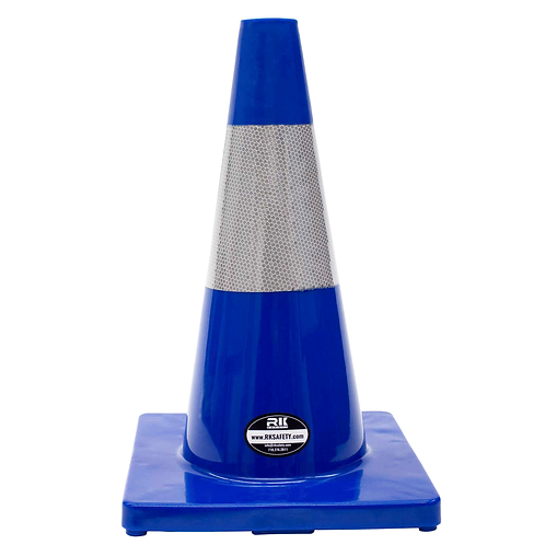 "18"" PVC Traffic Safety Cones, Orange Base with One Reflective Collar - Blue"