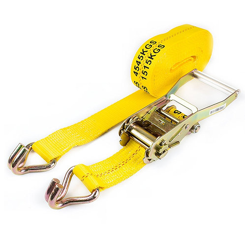 """2"""" x 27 ft Yellow Ratchet Strap with Double J Hooks-Long Wide Handle"""