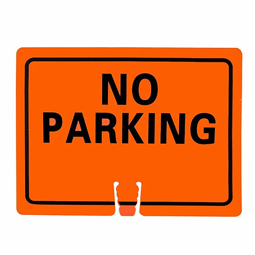 "18""w x 14""h Traffic Cone Sign ""No Parking"" Black on Orange"