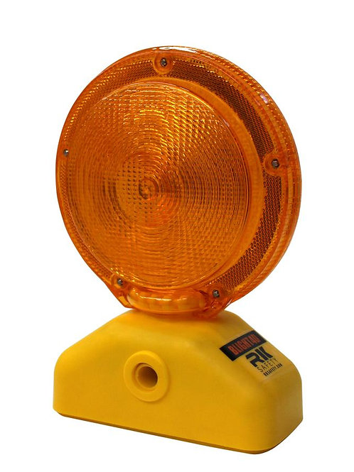 Barricade Light, D-Cell with Photocell, 3 Way Switch, Yellow Case/ Red Lens