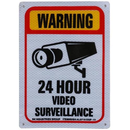 "10h x 7""w ""Warning 24 Hour Video Surveillance"" Aluminum Sign"