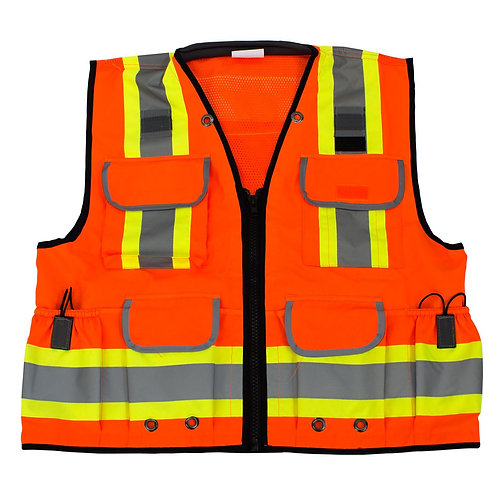 Hi-Viz Ploy Mesh Two Tone Reflective Strips, Pockets, Safety Vest Class 2
