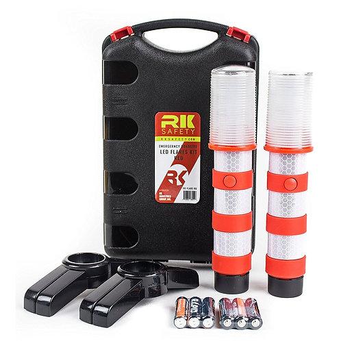 Reusable LED Emergency Roadside 2 Beacon Flares Kits - Red