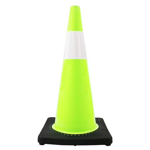 """28"""" Safety Traffic PVC Cones, 6"""" Reflective Collar with Black Base - Green"""