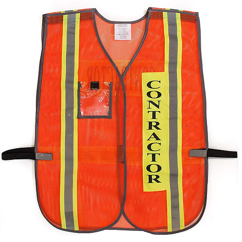 Contractor Safety Vest with Reflective Stripes with Clear Plastic ID Pocket