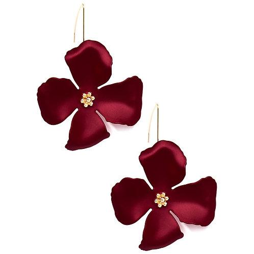 Metallic Hand Painted Flower Threader Drop Earring