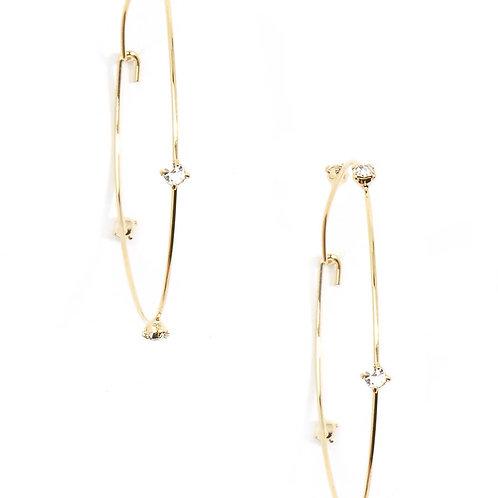 Delicate Five-Crystal Embellished Hoop Earring