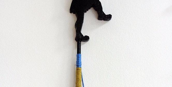 Black silhouette, figurine, greek guard, art sculpture, handmade, Wood, ribbon, string, greek coins, pom poms