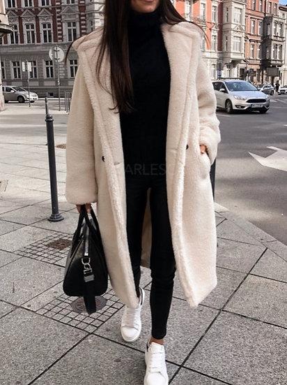 Manteau effet peluche long
