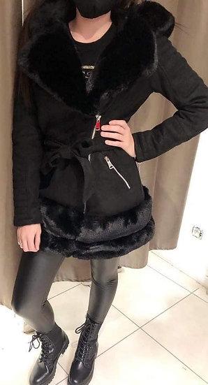 Manteau mi-long col fourrure