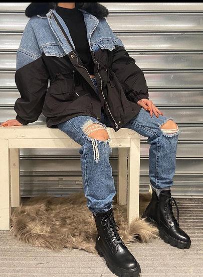 Manteaux Bi matiere jean fourrure intérieur