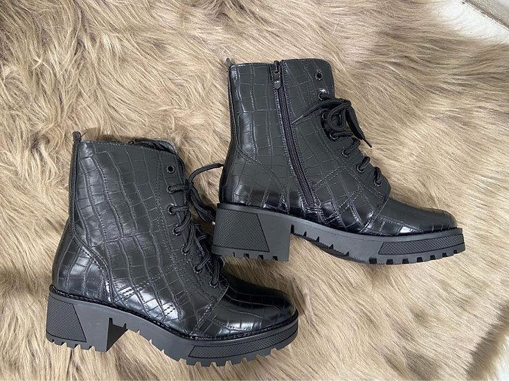 Boots en style croco noirs