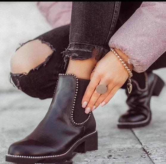 boots cuir PU rivets