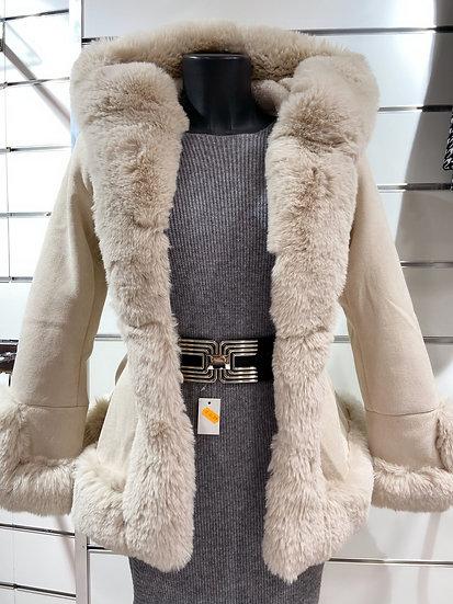 Manteau bi matiére avec col fourrure