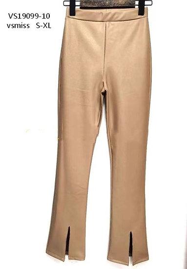 Pantalon simili cuir à fentes