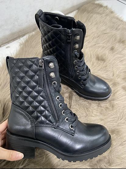 boots matelassé noir