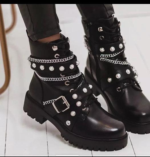 chaussures à perles, fermeture éclair